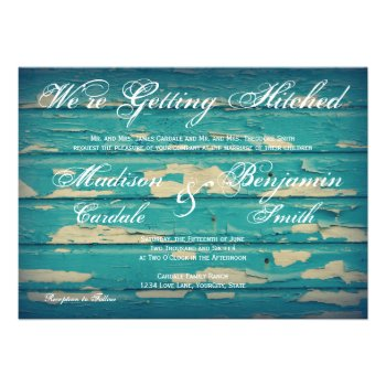 Rustic Country Turquoise Wood Wedding Invitations Invitations
