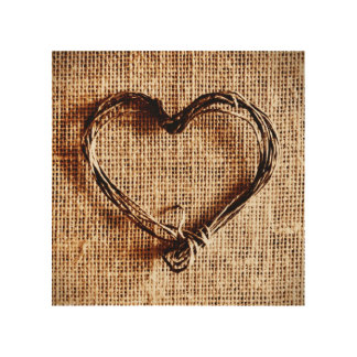 Rustic Country Twine Heart Burlap Look Wood Canvas