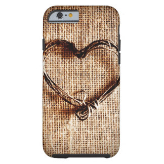 Rustic Country Twine Heart on Burlap Tough iPhone 6 Case