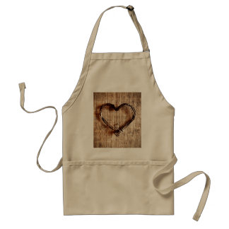 Rustic Country Twine Heart on Burlap Print Adult Apron