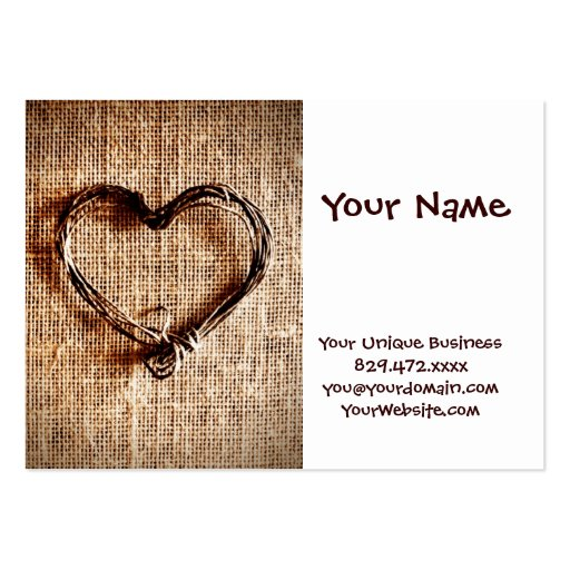Rustic Country Twine Heart on Burlap Print Business Cards