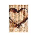 Rustic Country Twine Heart on Burlap Print Stretched Canvas Print