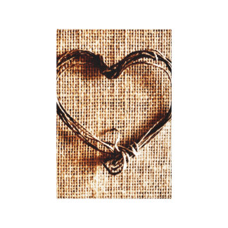 Rustic Country Twine Heart on Burlap Print Canvas Print