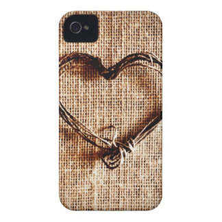 Rustic Country Twine Heart on Burlap Print iPhone 4 Covers