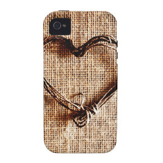 Rustic Country Twine Heart on Burlap Print Vibe iPhone 4 Cases