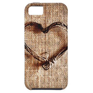 Rustic Country Twine Heart on Burlap Print iPhone 5 Cover