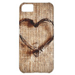 Rustic Country Twine Heart on Burlap Print iPhone 5C Cover