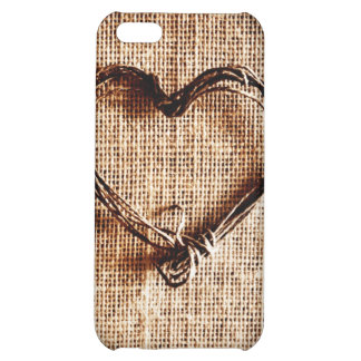 Rustic Country Twine Heart on Burlap Print Cover For iPhone 5C