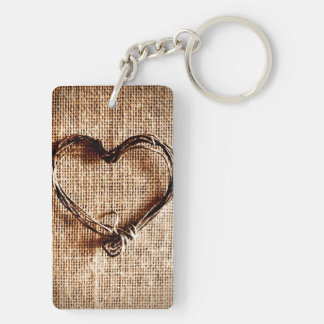 Rustic Country Twine Heart on Burlap Print Keychain