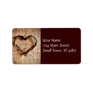 Rustic Country Twine Heart on Burlap Print Label