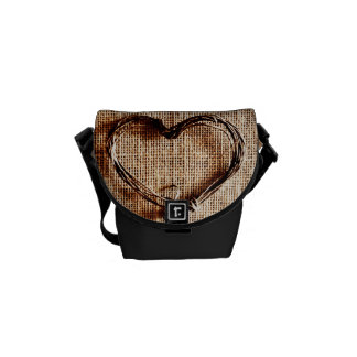 Rustic Country Twine Heart on Burlap Print Messenger Bag