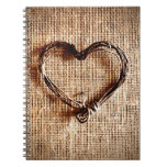 Rustic Country Twine Heart on Burlap Print Journals