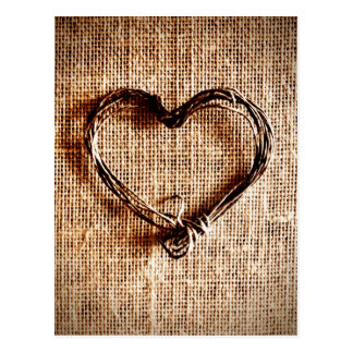 Rustic Country Twine Heart on Burlap Print Postcard