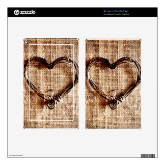 Rustic Country Twine Heart on Burlap Print Skin For Kindle Fire