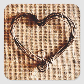 Rustic Country Twine Heart on Burlap Print Square Sticker