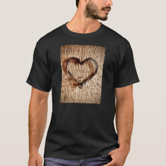 Rustic Country Twine Heart on Burlap Print T-Shirt