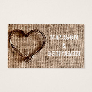 Rustic Country Twine Heart Wedding Place Cards