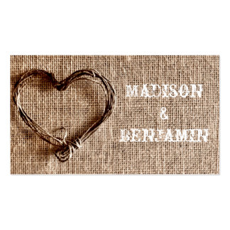 Rustic Country Twine Heart Wedding Place Cards Business Card