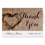 Rustic Country Twine Heart Wedding Thank You Cards
