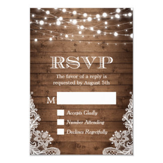 Rustic Country Twinkle Lights Lace Barn Wood RSVP Card