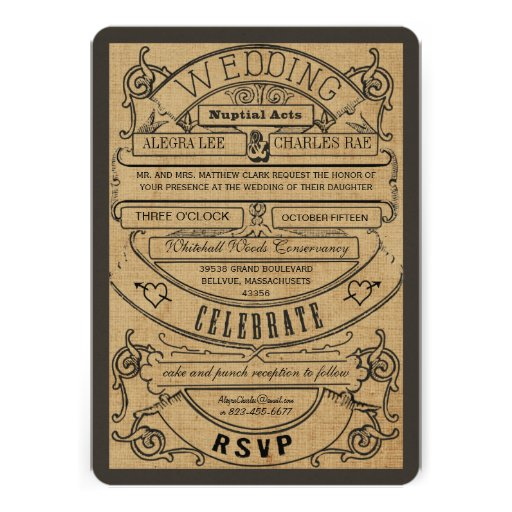 Rustic Country Typography Ticket Wedding Invite