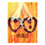 Rustic Country Vine Hearts Wedding Invitations