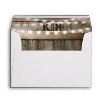 Rustic Country Vineyard Wood Lights Monogram Envelope