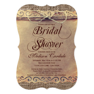 """Rustic Country Vintage Bridal Shower Invitations 5"""" X 7"""" Invitation Card"""