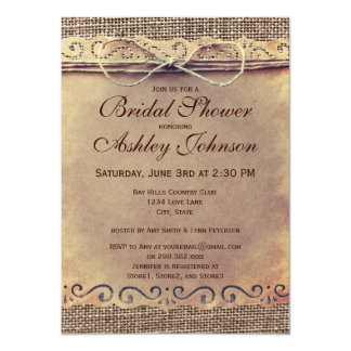"""Rustic Country Vintage Bridal Shower Invitations 4.5"""" X 6.25"""" Invitation Card"""