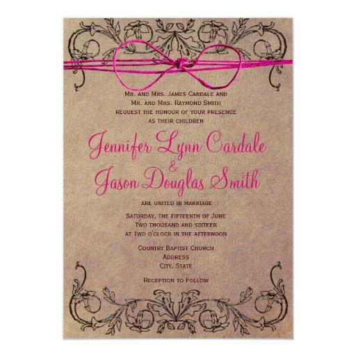 Rustic Country Vintage Brown Pink Wedding Invites