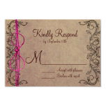 Rustic Country Vintage Brown Pink Wedding RSVP Personalized Invites
