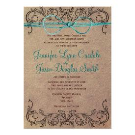 Rustic Country Vintage Brown Teal Wedding Invites