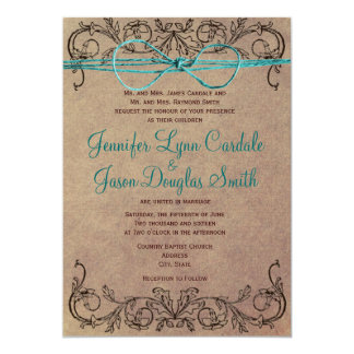 Rustic Country Vintage Brown Teal Wedding Invites