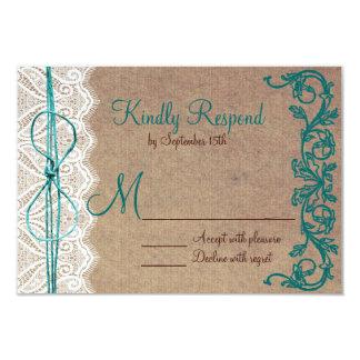 Rustic Country Vintage Brown Teal Wedding RSVP Card