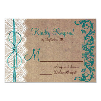 Rustic Country Vintage Brown Teal Wedding RSVP Personalized Announcement