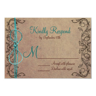 Rustic Country Vintage Brown Teal Wedding RSVP 3.5x5 Paper Invitation Card