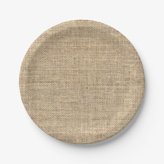 Rustic Country Vintage Burlap Paper Plate