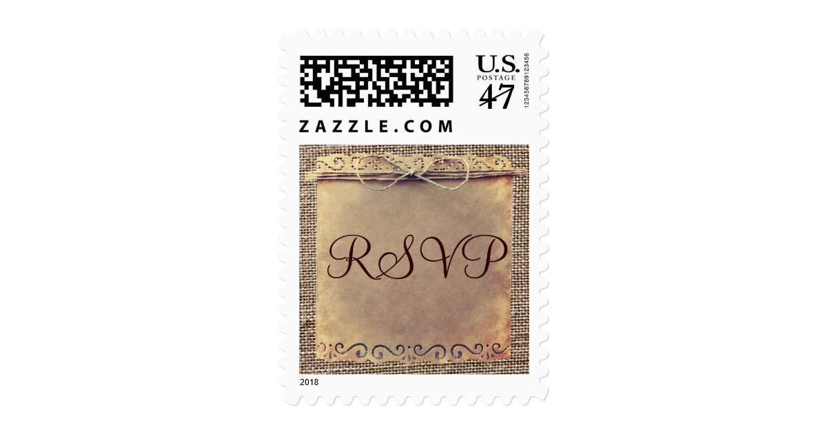 Rustic country vintage burlap rsvp wedding stamps zazzle for Wedding rsvp cards stamps