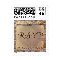 Rustic Country Vintage Burlap RSVP Wedding Stamps