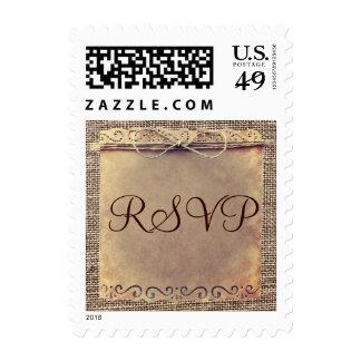 Rustic Country Vintage Burlap RSVP Wedding Stamps