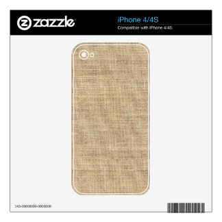 Rustic Country Vintage Burlap Skin For iPhone 4