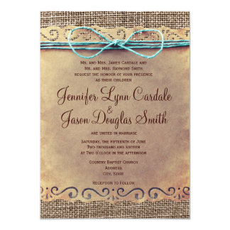 Rustic Country Vintage Burlap Wedding Invitations Custom Invites