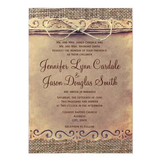 rustic country vintage burlap wedding invitations - Burlap Wedding Invitations