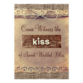 Rustic Country Vintage Burlap Wedding Invitations Custom Announcement
