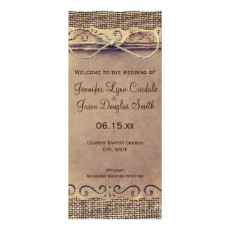 Rustic Country Vintage Burlap Wedding Program