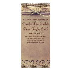 Rustic Country Vintage Burlap Wedding Program Custom Rack Cards