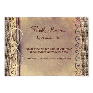 "Rustic Country Vintage Burlap Wedding RSVP Card V2 3.5"" X 5"" Invitation Card"