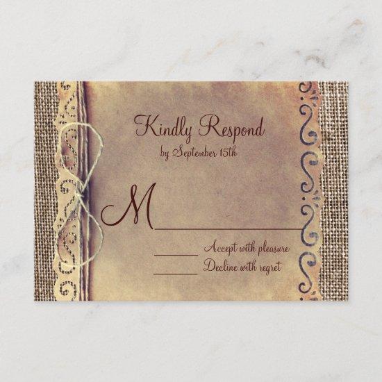 Rustic Country Vintage Burlap Wedding RSVP Cards