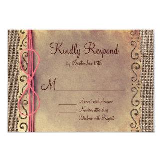 Rustic Country Vintage Burlap Wedding RSVP Cards Custom Announcement