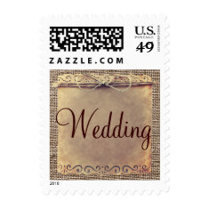 Rustic Country Vintage Burlap Wedding Stamps